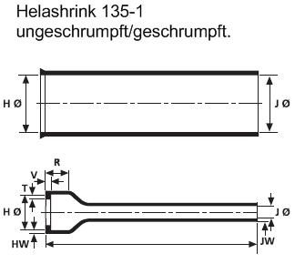 Helashrink® Serie 100 Gerade Steckverbinder-Endgehäuse mit langem Kabeleingang  HellermannTyton