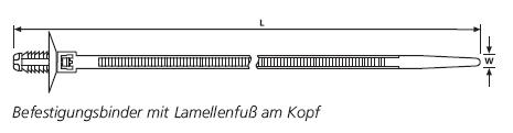 Befestigungsbinder mit Lamellenfuß am Kopf HellermannTyton