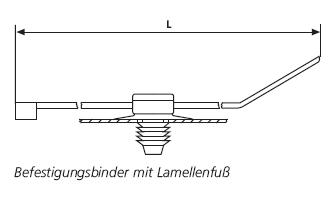 Befestigungsbinder mit Lamellenfuß am verschiebbaren Fußteil HellermannTyton