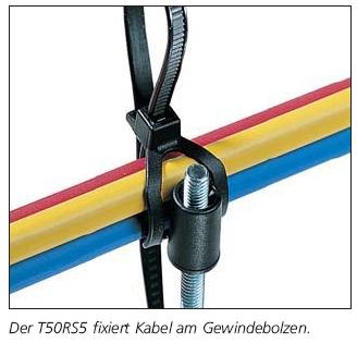Befestigungsbinder mit Schweißbolzen- Aufnahme am Kabelband HellermannTyton