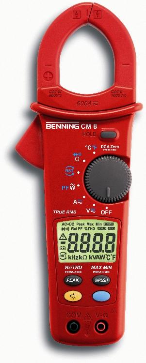 Leistungs-Stromzangen-Multimeter BENNING CM8 Leistungssanalyse fur ein- und dreiphasige Netze