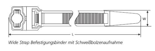 Wide Strap Befestigungsbinder mit Schweißbolzenaufnahme HellermannTyton