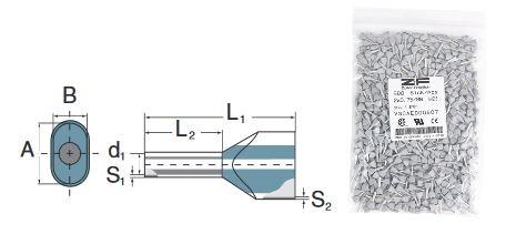 Zwillingsaderendhülsen mit Kunststoffkragen